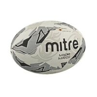 Mitre Maori Match Rugby Ball White Silver Black Size 5