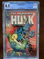 Incredible Hulk #110 CGC 8.5 (Marvel 1968) Ka-Zar and Zubu appearance.