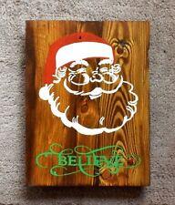 Handmade Reclaimed Pallet Sign Santa Believe Medium Oak Stain Wall Plaque