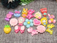 50 Colourful Flatback Resin Crystal Cabochons Assorted Animal Flower Candy DIY