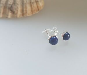 925  Sterling Silver Lapis Lazuli gemstone stud earrings  jewellery ladies girls
