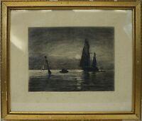 CARL LOCHER (1851-1915) SCHIFFE IM MONDSCHEIN - SHIPS IN MOONLIGHT - MARINEMALER