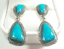 "925 STERLING SILVER SOUTHWEST STYLE ETCHED TURQUOISE 1 11/16"" POST EARRINGS"