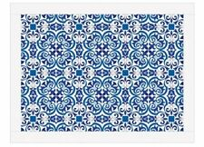 iStyle MOROCCAN TILES LAPTRAY Faux Leather Padded Cushion BLUE