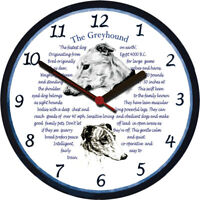 Greyhound Large Wall Clock - Dog Breed Origins Animal Facts