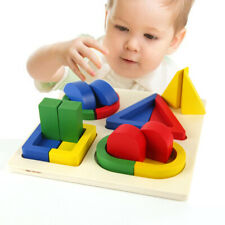 Kids Wooden Geometric Shape Cognition Puzzles Montessori Educational Toys Gifts