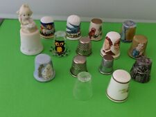 Vintage lot of Thimbles 15 Charles and Di, Unicorn Birds Religious