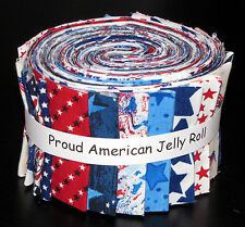 "Jelly Roll Patriotic Proud American USA Star Cotton Fabric 20 Strips 2.5""X44"""