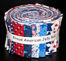 """Jelly Roll Patriotic Proud American USA Star Cotton Fabric 20 Strips 2.5""""X44"""""""
