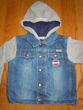 Boys Girls Levi Strauss Denim Jersey Lined Hooded Trucker Jean Jacket Coat Sz 3
