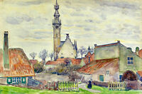 Oil painting theo van rysselberghe - Veere old town landscape with church canvas