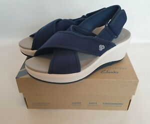 Clarks Cloudsteppers Navy Blue Sling Back Wedge Sandals Step Cali Cove Size 3