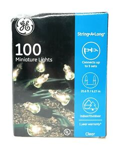 GE StayBright Incandescent Clear Mini String Lights Green Wire Indoor/Outdoor