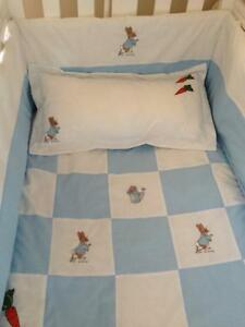 Beautiful patchwork peter rabbit  crib cot cotbed bumper set.   free p&p