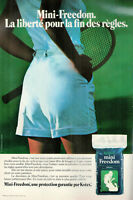 PUBLICITÉ DE PRESSE 1979 MINI FREEDOM PROTECTION GARANTIE PAR KOTEX - TENNIS
