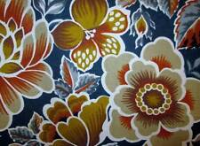 Vtg Fabric Cotton 1976 Chave Early Plymouth Flowers Gold Brown Blue Gray 55x83