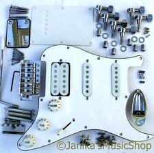 Stratocaster type guitar HSS parts loaded white pickguard tuners tremolo bridge