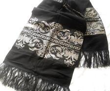 Vintage 1960'S Ladies Black & Metallic Silver Bird Design Evening Stole Wrap