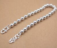 """Pure S925 Sterling Silver Bracelet Women's Smooth Beads Round Bracelet 7.6""""L 5mm"""