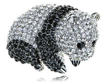 Adorable Cute  Black Crystal Rhinestone Baby Panda Zoo Animal Pin Brooch BIG