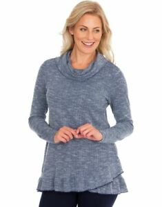 Cowl Neck Long Sleeve Knit Top  - Ladies Womens - Klass Collection