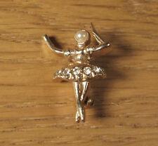 Vintage Ballet Dancer Pin Brooch White Rhinestone Pearl Wedding Jewelry Gold