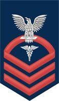 """Hospital Corpsman HM Navy Chief E-7 Red 5.5"""" Rank Sticker / Decal"""