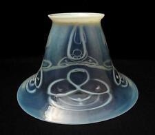 ANTIQUE ART NOUVEAU URANIUM GREEN OPALESCENT GLASS OIL LAMP LIGHT SHADE VASELINE