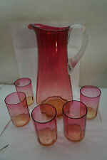 ANTIQUE CRANBERRY GLASS WATER SET TALL PITCHER 5 TUMBLERS VERTICAL OPTICS