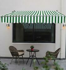 9.8 x 6.5 ft. Manual Retractable Awning Green Striped Model Outdoor Deck & Patio