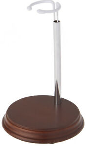 """Bard's Chrome and Wood Doll Stand, 5.875"""" H x 4.5"""" W x 4.5"""" D"""