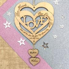 Personalised Wedding Gift Love Hearts Keepsake Plaque Anniversary Engagement