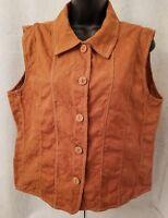 Coldwater Creek Womens Orangish Brown Button Down Shirt Top Blouse Size L