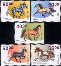 Iceland 2001 Horses/Working Animals/Nature/Transport/Sport 5v set (b5680)