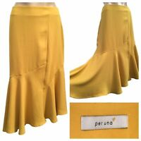PER UNA M&S Skirt Size 14 UK Asymmetrical Yellow Frill Mid Calf Skirt