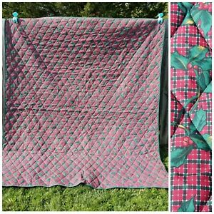 Vintage King Size Bedspread Plaid Holy Berry Holiday Christmas 98 x 84 Blanket