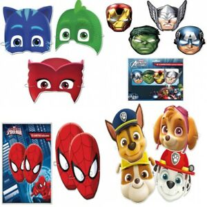 Kids Birthday Party Loot Face Masks - Paw Patrol, Avengers, PJ Mask, Spiderman
