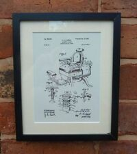 USA Patent Drawing vintage BARBER CHAIR hairdresser hair MOUNTED PRINT 1901