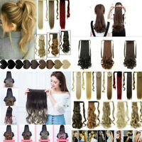 NEW 100% Real Thick Clip On As Human Hair Extensions Wrap Ponytail Straight Wavy
