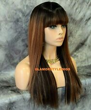 Human Hair Blend Long Straight Layered W Bangs Ombre Brown Auburn Mix Full Wig