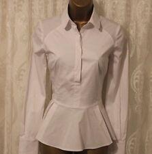 Karen Millen LTD ED Cotton Tailored Formal Stretch Fit Peplum Casual Shirt 8 36