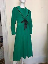 Laura Ashley Edwardian Sailor Dress Needlepoint Cord Emerald Green 1980s 8
