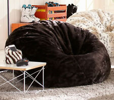 Large Black Faux Fur Soft Plush Fur Beanbag Cover Chair 104cmD+ Liner