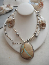 Vintage Southwest Sterling Royston Ribbon Turquoise Beaded Necklace  956L