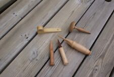 Mixed Lot of Treen Hand Made Wooden Items Tools/ Sewing/ Door Stop