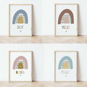 Personalised Name Print Rainbow Baby Nursery Kids Wall Art Poster Boy Girl Gift