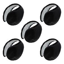 5 Black Fleece Ear Warmer Faux Leather Men Women Kids Ear Muff