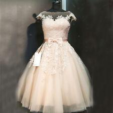1950S Vintage Wedding Dresses Sheer Crew Neck Appliques Bridal Gowns Custom Size