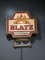 Vintage 20x20 Blatz Beer On Tap Lighted Sign Bar Advertisement