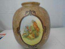 """Antique Victorian style portrait vase Heister Kamp 8.5"""" Porcelain Jar 4 sides"""